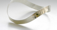 Hammered bangles in a modernist style