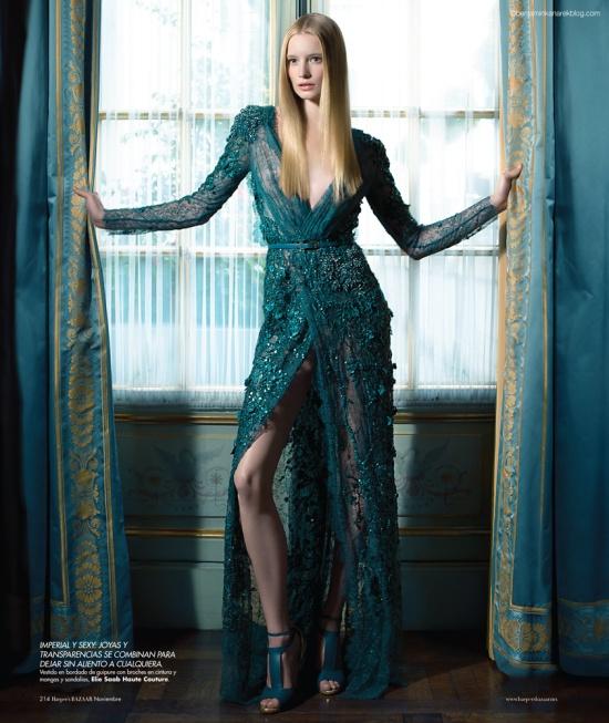 """""""In My Castle"""" Model Maud Welzen in Haute Couture for the November 2012 Issue of Harper's BAZAAR by Benjamin Kanarek"""