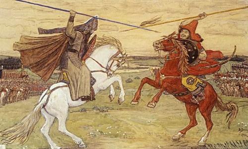 The duel of Alexander Peresvet and Mamai's champion (Поединок Пересвета с Челубеем)