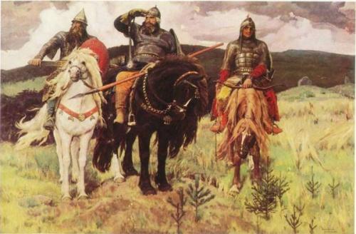 "The Three Heroes (""Три богатыря"" [Tri Bogatyrya]) by V.Vasnetsov"