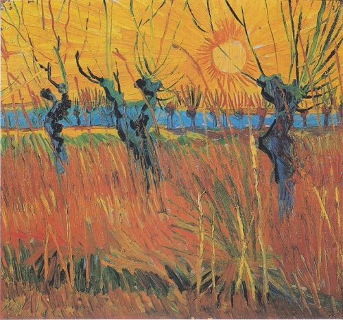 Willow trees at sunset by Van Gogh, Arles (1888); source: repro from art book